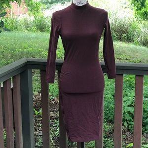 AA Hi neck long sleeve body con dress
